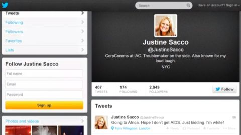 """PR executive Justine Sacco was fired after a 2013 tweet, intended as a joke, went viral. """"Words cannot express how sorry I am, and how necessary it is for me to apologize to the people of South Africa, who I have offended due to a needless and careless tweet,"""" <a href=""""http://www.theguardian.com/world/2013/dec/22/pr-exec-fired-racist-tweet-aids-africa-apology"""" target=""""_blank"""" target=""""_blank"""">she said in a statement</a>."""