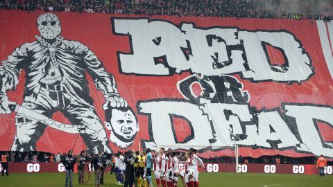 """In Belgium, fans of football team Standard Liege unfurled a giant banner depicting the severed head of an opponent on Janurary 25, 2015. The club condemned their actions as """"totally unacceptable."""""""
