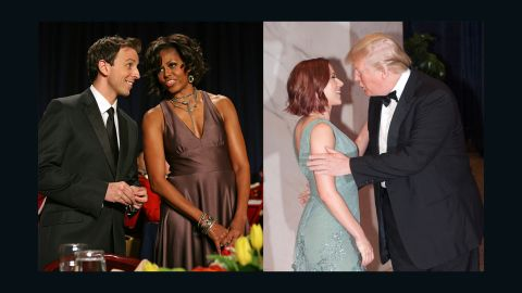 """In 2011, comedian Seth Myers got rave reviews for his performance at the White House Correspondents Dinner, but real estate mogul Donald Trump was clearly not amused. """"Donald Trump has been saying that he will run for president as a Republican,"""" Myers sneered, """"which is surprising, because I just assumed he was running as a joke."""" Trump remained expressionless and silent amid a sea of laughter. Myers wasn't done: """"Donald Trump often appears on Fox, which is ironic, because a fox often appears on Donald Trump's head."""""""
