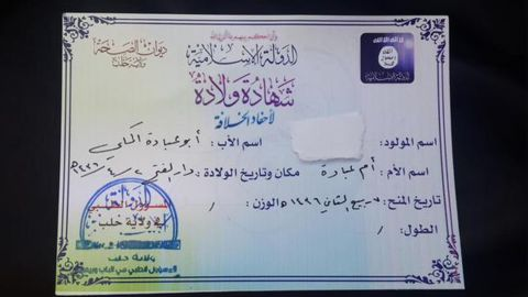 """This birth certificate from the Halab Health Department records information for babies born in the ISIS-created province or """"wilayat."""""""