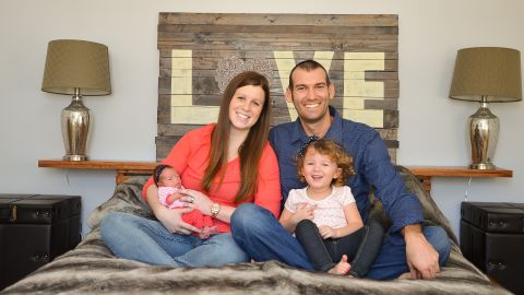 Ben and Shelby Offrink, with Maeve and newborn Hazel, not long before Shelby's diagnosis.