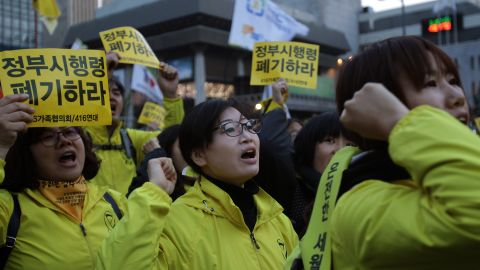 The mother of Sewol ferry disaster victim, Danwon High School student Lim Kyung-Bin, attends a rally to pay tribute to the victims of the ferry disaster on April 11, 2015, Seoul, South Korea.