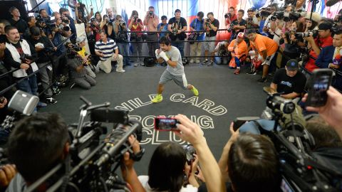 """This week, Mayweather called Pacquiao a """"reckless"""" fighter, a jibe the """"Pacman"""" shrugged off.""""That's how people like me and love me, because they like an exciting fight,"""" said the Filipino. """"We call this boxing."""""""