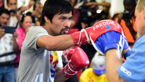 """The congressman and eight-division world champion said he had a message for Mayweather: """"After the fight, if I could talk to him, I want to share the gospel of God. I want to share to him about God, why we need God."""" Pacquiao is a passionate Christian. He uses social media to thank God and share his musical compositions, while Mayweather's <a href=""""http://edition.cnn.com/2015/03/11/sport/mayweather---pacquiao-2015/"""">Instagram feed highlights his glamorous lifestyle.</a>"""