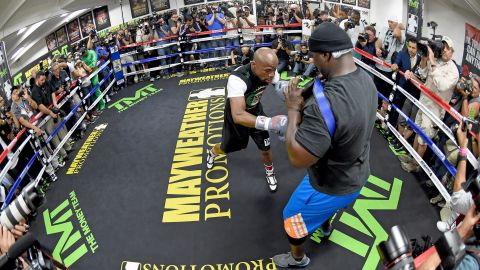 """""""This is going to be an exciting fight. Our styles are totally different. He is very, very reckless. Every move I make is calculated. I'm always five, 10 steps ahead of my opponent"""" WBC/WBA welterweight champion Floyd Mayweather said of his rival Manny Pacquiao as reporters packed into the Mayweather Boxing Club."""