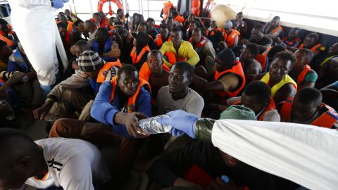 """""""When you look in their eyes, you see their desperation,"""" said Regina, adding that MOAS operates around 40 miles from Libyan shores."""