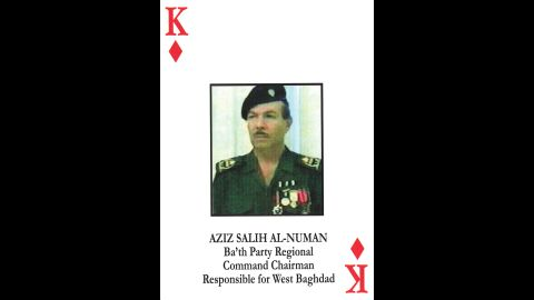 Aziz Saleh Al-Numan<br />Ba'ath Party regional command chairman<br />May 22, 2003: Captured and later convicted and sentenced to death.<br />July 16, 2011: Transferred from U.S. custody to Iraqi custody.