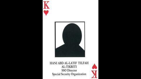 Hani abd al-Latif al-Tilfah al-Tikriti<br />Director, Special Security Organization / Responsible for security and investigations<br />Still at large.