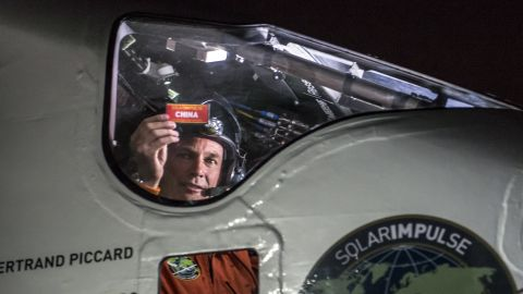 Piccard sits in the cockpit right after landing in Chongqing, China, on Sunday, March 31. He had just completed the fifth leg of the global trip.