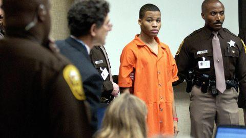 Malvo appears at the murder trial for sniper suspect John Allen Muhammad in 2003.