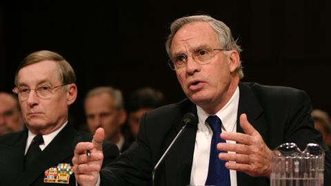 CIA Director Porter Goss (R) testifies before the Senate Select Intelligence Committee as Defense Intelligence Agency Director Lowell Jacoby (L) looks on at the Hart Senate Office Building on Capitol Hill February 16, 2005 in Washington, DC. Goss and others testified about threats against the US  (Photo by Shaun Heasley/Getty Images)