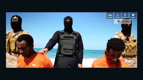 A still from the latest ISIS propaganda video. The beheading victims are believed to be Ethiopian Christians in Libya.