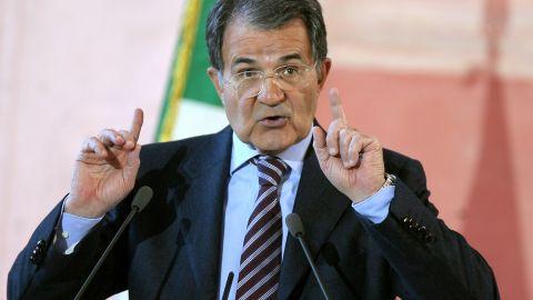 Italian Prime Minister Romano Prodi gestures during his year-end press conference in Rome's Villa Madama on December 27, 2007.