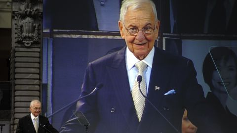 Business icon Lee Iacocca speaks after he receives honors at the Ellis Island Family Heritage Awards at the Ellis Island Immigration Museum at the Great Hall on  Ellis Island April 13, 2011, in New York.