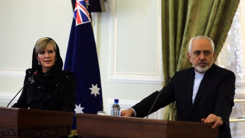 Australian Foreign Minister Julie Bishop meeting with her Iranian counterpart, Mohammad Javad Zarif, in Tehran on Saturday.