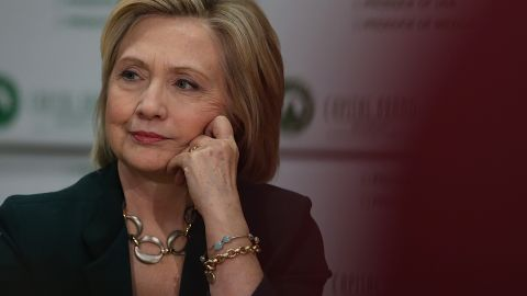 Democratic presidential hopeful and former Secretary of State Hillary Clinton looks on during a roundtable discussion with members of the small business community at Capital City Fruit on April 15, 2015 in Norwalk, Iowa.
