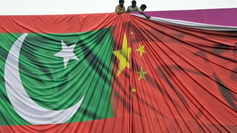 The Chinese and Pakistani flags, ahead of Chinese President Xi Jinping visit to Pakistan in April.