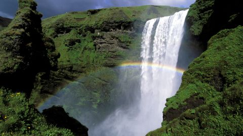 <strong>Iceland </strong>is the second-happiest country in the world. A two-hour drive from the capital city of Reykjavik, south Iceland is home to Skogafoss Waterfall and many other natural wonders. This famous 60-meter (197-foot) waterfall nearly always has a rainbow.