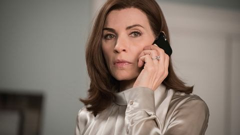 """""""Untitled - 622"""" -- When Alicia (Julianna Margulies) gets a suspicious call from a client, she discovers that he\'s being held in a secret police facility where people are detained without being officially booked on THE GOOD WIFE,  SUNDAY, MAY 10 (9:00-10:00 PM, ET/PT), on the CBS Television Network.  Michael J. Fox guest stars. Photo: Jeff Neumanné2015 CBS Broadcasting, Inc. All Rights Reserved"""