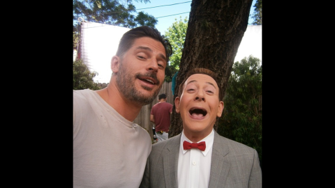 """Pee-wee Herman -- played by actor Paul Reubens, right -- <a href=""""https://instagram.com/p/1ll_-JzY5x/?taken-by=peeweeherman"""" target=""""_blank"""" target=""""_blank"""">opened his Instagram account</a> with a selfie next to actor Joe Manganiello on Friday, April 17. The two are shooting the movie """"Pee-wee's Big Holiday."""""""
