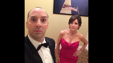 """Actress Julia Louis-Dreyfus posted this <a href=""""https://instagram.com/p/1tkmZoOxi-/?taken-by=officialjld"""" target=""""_blank"""" target=""""_blank"""">""""backstage selfie""""</a> with """"Veep"""" co-star Tony Hale on Monday, April 20."""
