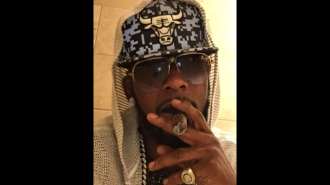"""""""Bulls Win!"""" <a href=""""https://instagram.com/p/1uHV1UokWw/?taken-by=rkelly"""" target=""""_blank"""" target=""""_blank"""">said singer R. Kelly</a> as he wears the basketball team's logo on Monday, April 20. The Chicago Bulls had just defeated Milwaukee in Game 2 of their NBA playoff series."""