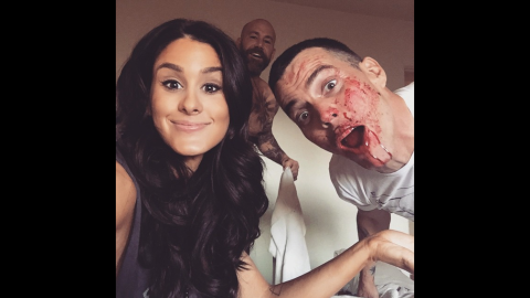"""Comedian Brittany Furlan said she was <a href=""""https://instagram.com/p/1t-xyKw-uv/?taken-by=brittanyfurlan"""" target=""""_blank"""" target=""""_blank"""">""""up to no good""""</a> Monday, April 20, with music producer Nik Nikateen, center, and entertainer Steve-O."""