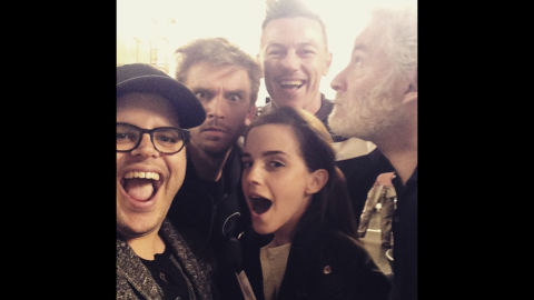 """Actor Josh Gad, left, <a href=""""https://instagram.com/p/1dzUfljvmK/?taken-by=joshgad"""" target=""""_blank"""" target=""""_blank"""">posted this selfie</a> with Emma Watson and others who will be starring with him in Disney's live-action film """"Beauty and the Beast."""" """"Can't wait for you to be our guest,"""" Gad said on Instagram on Tuesday, April 14. Behind Gad and Watson, from left, are actors Dan Stevens, Luke Evans and Kevin Kline."""