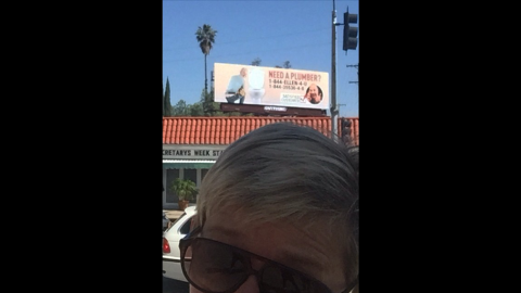 """""""Look what I saw on my way to work today,"""" <a href=""""https://instagram.com/p/1i_-6QtjNk/?taken-by=theellenshow"""" target=""""_blank"""" target=""""_blank"""">said talk-show host Ellen DeGeneres,</a> who has been in a prank war with """"Today"""" show host Matt Lauer. """"Good one, @MattLauerNBC. #MattsRevenge."""" If you can't quite make it out, that's DeGeneres' face on a billboard for a fake plumbing company."""