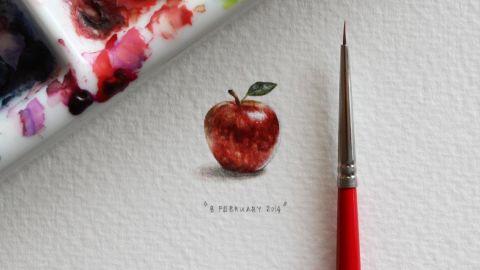 Paintings measure between 8 and 30 millimeters.