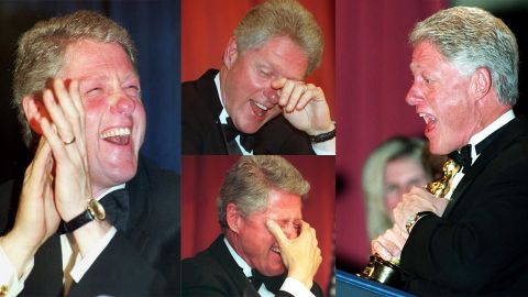 """At a monumental farewell speech at the dinner in 2000, it was time for President Bill Clinton to put on a show himself that many would remember. """"Now, I know lately I haven't done a very good job at creating controversy, and I'm sorry for that. You all have so much less to report,"""" Clinton said. He then proceeded to show a short film of how he was coming to terms with leaving the White House: solemnly wandering around the White House alone, making origami paper designs, trimming the hedges of the White House lawn and with everyone gone, including Hillary, taking calls and messages intended for his staff."""