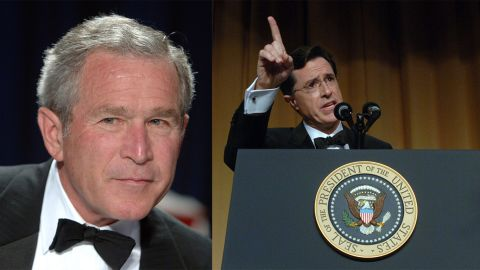 """In one of the most brutal presidential roasts, comedian Stephen Colbert tore into President George W. Bush's foreign policy in 2006, hammering the 43rd President over the Iraq War. """"I believe the government that governs best is the government that governs least,"""" Colbert deadpanned, """"and by these standards, we have set up a fabulous government in Iraq."""" Some Bush supporters left the room."""