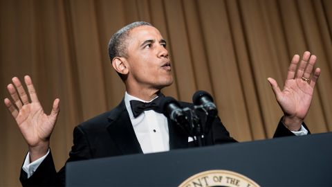 """Fresh off winning a second term in the White House, Obama started the 2013 dinner with a bang by walking onto the stage to DJ Khaled's song """"All I Do Is Win."""" """"How do you like my new entrance music?"""" Obama asked. He then proceeded to hint that during his second term he might now be dancing to a different tune: """"Actually, my advisers were a little worried about the new rap entrance music. They are a little more traditional. They suggested that I should start with some jokes at my own expense, just take myself down a peg. I was like, guys, after four and a half years, how many pegs are there left?"""""""