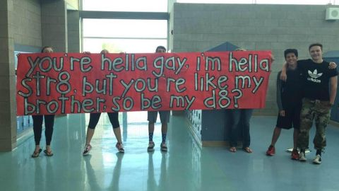 """The high school student's """"promposal"""" to his gay best friend has gone viral on social media."""