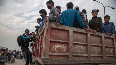 A truck evacuates residents from Kathmandu on April 26.