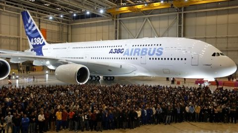 The A380 took its maiden flight on April 27, 2005. At 79.8 meters wide, the aircraft is the largest commercial passenger plane in operation.