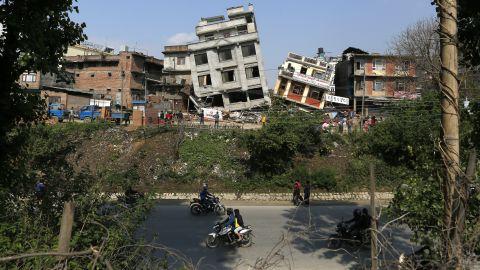 Damaged buildings lean to the side in Kathmandu on April 27.
