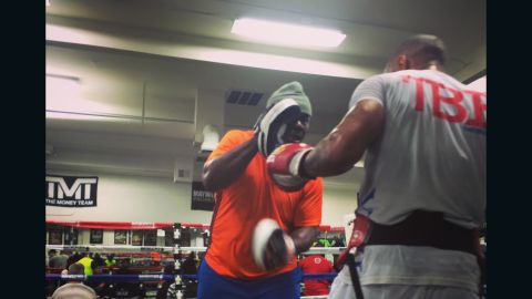 """Pad work follows bag work, 25 minutes straight, without a break.  """"When I first came here Roger Mayweather (Floyd's two-time world champion uncle) asked me who I was was. I told him 'Ashley Theophane, British champion.' He said: 'That don't mean shit, that don't mean you can fight.' So he got his mitts and we went to work on the pads -- after a while he said, 'Yeah, he's okay.' """""""
