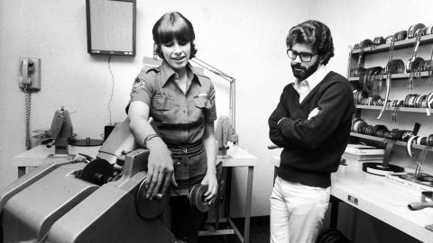 """Film editor Marcia Lucas with her then-husband, director George Lucas, editing """"Star Wars."""" The film gave George Lucas the power to call shots in Hollywood -- influence he used to do everything from market video games to produce films for one of his heroes, Japanese director Akira Kurosawa."""