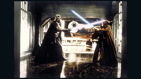 """Darth Vader, the villain of """"Star Wars,"""" and Obi-Wan Kenobi battle in the original film. Vader's life is explored in the second """"Star Wars"""" trilogy, starting with 1999's """"The Phantom Menace."""""""