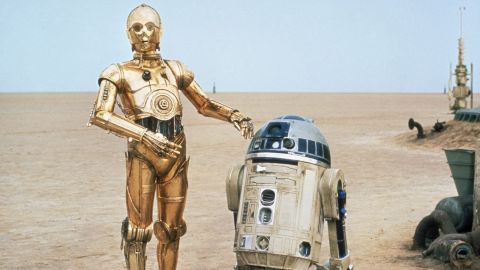 """C-3PO, left, and R2-D2 are the loyal droids who serve as companions to various """"Star Wars"""" characters. They're somewhat based on two characters from Kurosawa's film """"The Hidden Fortress,"""" a key """"Star Wars"""" influence."""