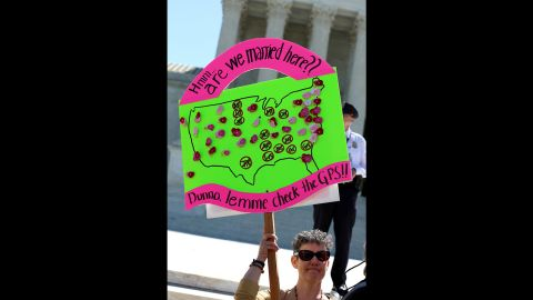Sarah Rauber of Maryland stands in front of the Supreme Court.