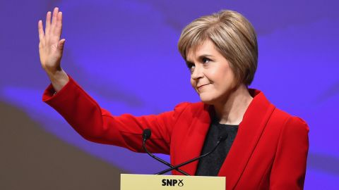 Nicola Sturgeon waves as she gives her first key note speech as SNP party leader at the party's annual conference on November 15, 2014 in Perth, Scotland. Nicola Sturgeon formally took over the leadership of the SNP from Alex Salmond yesterday, during her speech she urged voters to leave Labour in next May's UK election