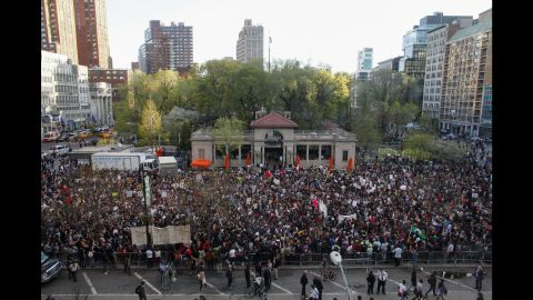 Protesters fill Union Square in New York on Wednesday, April 29, during a rally.