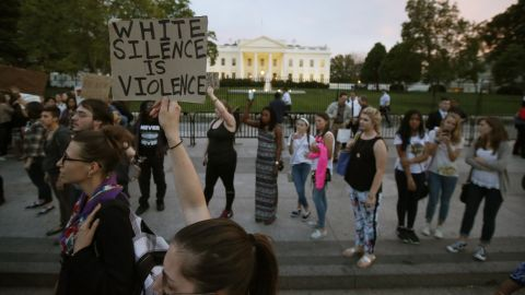 Protesters rally in front of the White House April 29.