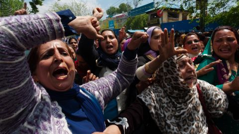Contract workers and government employees shout slogans during a protest in Srinagar, India.