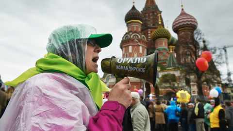 Members of Russian trade unions rally at Red Square in Moscow.