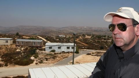 Huckabee visits the West Bank settlement of Beit El, near Ramallah, on August 18, 2009. He issued controversial statements in support of Israeli settlements.
