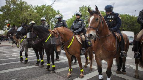 Police on horseback block a Baltimore street on May 1.