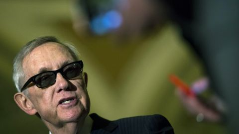Senate Minority Leader Harry Reid, D-Nevada, speaks during a news conference on Capitol Hill after a policy meeting with Senate Democrats on April 28. Reid has been an outspoken critic of the Kochs' political moves.
